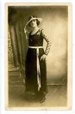 New York City NYC-WOMAN IN FASHIONABLE DRESS-Victoria Photo Shop RPPC Postcard