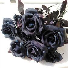 10x Halloween Artificial Silk Pieces Black Rose Bouquet Real Feeling Flower Set