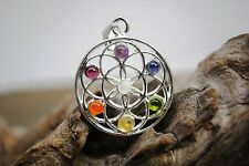 Seven 7 CHAKRA Gemstone Flower of Life PENDANT Necklace Healing Reiki Jewelry