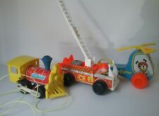 Vintage Fisher Price Pull Toys Train Fire Engine Helicopter Wood Plastic  3 pcs