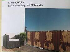 Balkonblende Blüte Braun/Beige 0,9 x 5,0 m / Sichtschutz / Windschutz / Balkon
