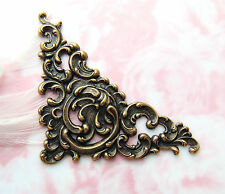 ANTIQUE BRASS Scroll Cartouche Corner Stamping ~ Jewelry Victorian (C-1007)