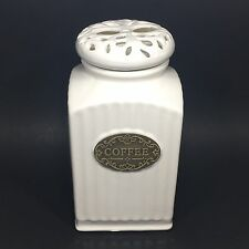 THL Shabby Chic Coffee Canister with Lattice Lid