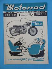 Internat Fachzeitschrift MOTORRAD ROLLER MOPED Heft 3 - 1957- BSA , Puch 250 SG