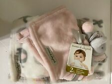 Blankets and Beyond Elephant Baby Security Blanket Set 28 X 32 Pink Gray White