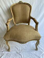 Fauteuil de style Louis XV tissu toile de jute