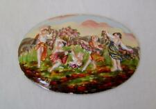 Rare Capodimonte Porcelain Oval Box Lid Plaque with Dancing Girls Scene C.1900