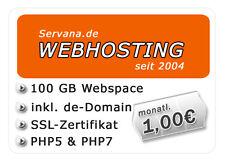 Webhosting mit 100 GB Webspace + SSL-Zertifikat, DE-Domain, PHP5/7 + MySQL5 uvm