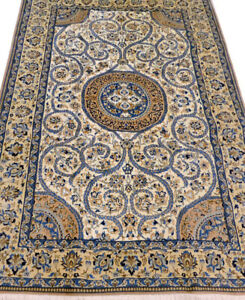 """Hand Knotted 5' 5"""" x 8' 6"""" Beige Nain Wool & Silk Authentic Perssian Rug"""