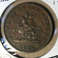 1852 Upper Canada 1 Penny Token Coin