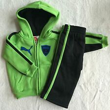 NWT Baby Boys 2pc Puma Neon Green & Black Track Outfit Set Hoodie & Pants 12 Mo