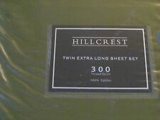 3pc Hillcrest Extra Long Twin Sheet Set in Bright Olive Green  300tc Cotton  NIP