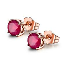 Fashion Women Rose Gold Filled Ruby Crystal Charm Stud Earring July Birthstone