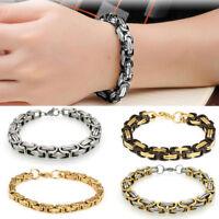 Mens Women Stainless Steel Byzantine Bracelet Cuff Wristband Bangle Box Chain