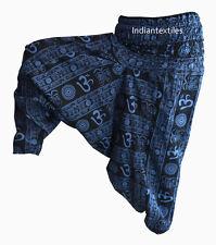 INDIAN BAGGY GYPSY HAREM PANTS YOGA MEN WOMEN BLUE OM PRINT DANCE TROUSERS