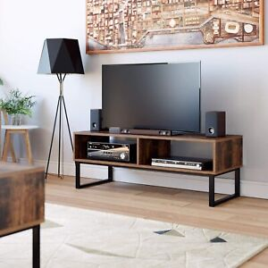 Industrial TV Stand Unit Vintage Rustic Brown Lounge Coffee Table Wood Furniture