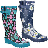 Cotswold Burghley Wellington Boots Womens Raindrop Daisy Wide Calf Wellies UK3-8