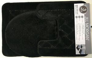 Basketweave Sanibel 3 Piece Sculptured Bath Rug, Contour Rug and Lid Cover Set