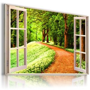 FOREST GREEN PATH PARK 3D Window View Canvas Wall Art Picture W184 MATAGA .