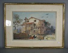 AQUARELLE EPOQUE 1900 / AQUARELLE ARCHITECTURALE / AQUARELLE APINOST