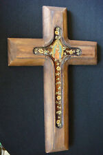 OLD SPAIN WOOD AND FLOWERS RARE BEAUTIFULLY DETAILED HANGING LARGE CRUCIFIX