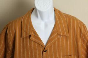 Billy Reid Men's dark yellow and white striped loop collar camp shirt 2XL XXL