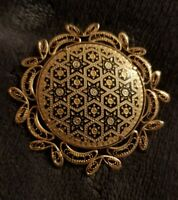 Vintage Goldtone Round filigree star patterned Brooch costume jewellery ornate