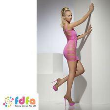 NEON PINK WIDE NET SLASHED CLUBWEAR DRESS ladies womens hosiery