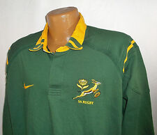 SA South Africa Rugby Mens XL NIKE Team Long Slv Embroidered Rugby Jersey Shirt