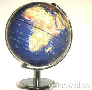 BEAUTIFUL Clear Blue Satellite View Educational World Globe  25cm Home Decor