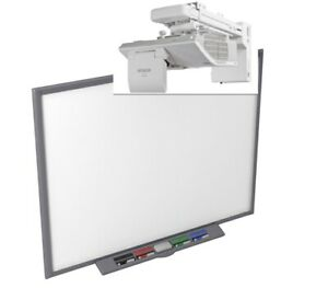 "77"" SB680 INTERACTIVE SMART BOARD AND HITACHI ULTRA SHORT THROW HDMI PROJECTOR"