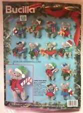 Bucilla Holiday Felt Jeweled Applique Ornament Mouse Mice Kit Christmas 83139