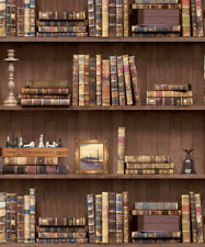 Bookcase Library Study. Holden Decor Vintage Books Natural Wallpaper 11950