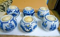 6 Beautiful New Greenbrier Porcelain Blue & White Tealight Candle Holders NIOB
