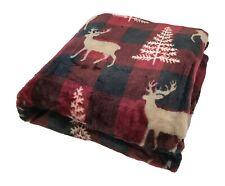 Holiday Christmas Throw Blanket: Winter Lodge Plaid Deer, Red Brown Black Tan