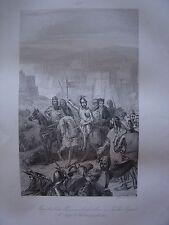 Grande gravure Maréchal BOUCICAUT Sultan Bajazet 1er Siège Constantinople 1402
