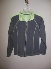 SJB Active Women's Size Small Zip Up Gray Jacket w/ Green Stitching & Accents