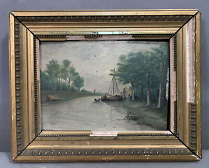 Antique PRIMITIVE Old RIVER BOAT Riverscape FOLK ART Landscape Oil PAINTING