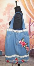 "Custom Handmade Denim Blue Jeans Long Handbag with Roses and Lace  20"" W x 23"" L"