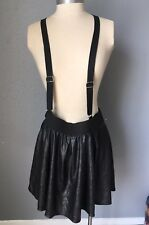 Valid Black Spandex Mini Skirt with Suspenders LARGE Goth Emo Hipster Rave Chick