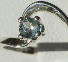 Blue Green MONTANA SAPPHIRE Gem .925 Sterling Silver 3mm Round Swirl Ring Size 4