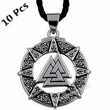 Wholesale 10 Pcs Valknut Odin's Symbol of Norse Viking Warriors Pendant Necklace