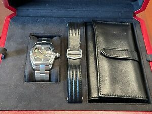 Cartier Roadster Watch - Steel And Leather Bracelet - Box/papers W62002V3