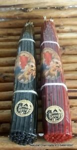 2 Black and Red bee wax 33 Candles Lited from Holy Sepulchre church Jerusalem