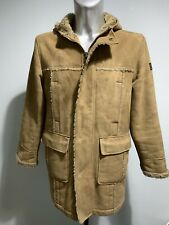 Mens River Island Brown/Tan Borg Lined Parker Style Coat With Hood UK SIZE Small