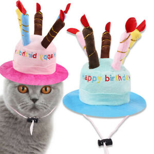 Pets Dogs Hat Puppy Cats Birthday Gifts Cake Shaped Cute Cap Adjustable Headwear