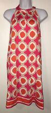 Mudpie Shift Stretch Dress Geometric Orange Pink White Tie Back Sz Medium EUC