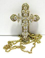 STERLING SILVER GOLD LARGE HOLY CROSS CLEAR STONES NECKLACE SYBOLL