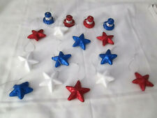 Lot of 16 Asst.Patriotic Red, White & Blue Glitter Ornaments - 4th of July, New
