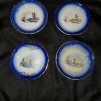 Antique La Francaise Porcelain Flow Blue Windmills & Sailboats 4 Butter Pats